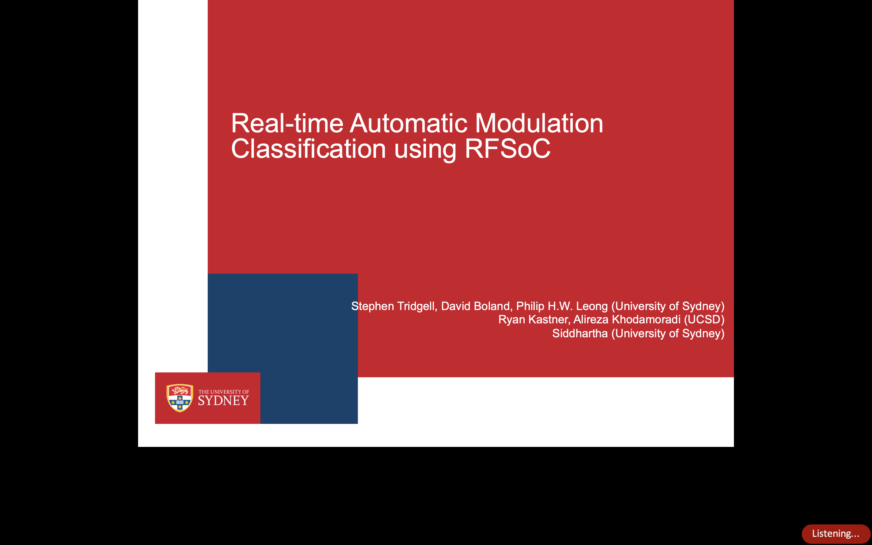 Real-time automatic modulation classification using RFSoC